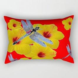 YELLOW HIBISCUS BLUE DRAGONFLIES RED ART Rectangular Pillow