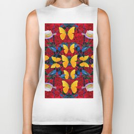 RED-WHITE ROSES & YELLOW BUTTERFLIES GARDEN Biker Tank