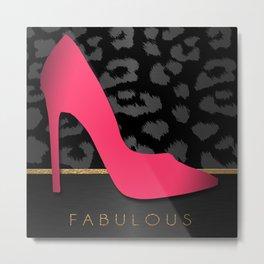Fabulous Pink Pump & Metallic Leopard Print Metal Print