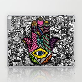 Colorful Hand Drawn Hamsa Hand an Floral Drawings Laptop & iPad Skin