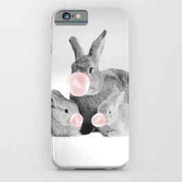 Cute Rabbit Family With Gum Print, Nursery Wall Art, Rabbit Poster, Bubblegum Art iPhone Case