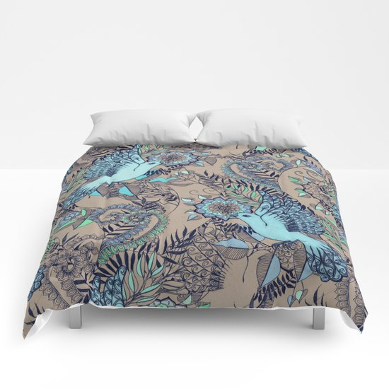 Flight of Fancy - aqua, mint, taupe Comforters