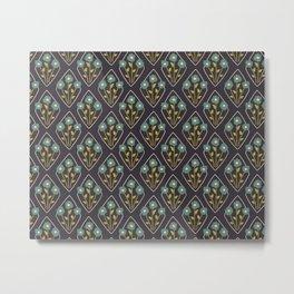 Floral Diamond Black Metal Print