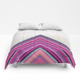 Wood and Bright Stripes, Chevron - Geometric Design Comforters
