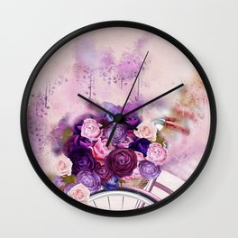 Vintag Bicycle and Flowers Wall Clock