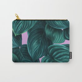 tropical green pattern on pink Carry-All Pouch