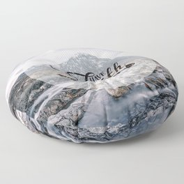Have Faith Inspirational Typography Over Mountain Floor Pillow