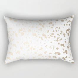 Luxe Gold Painted Dots on White Rectangular Pillow