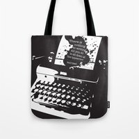 hemingway Tote Bags featuring Ernest Hemingway Quote by People Matter Creative