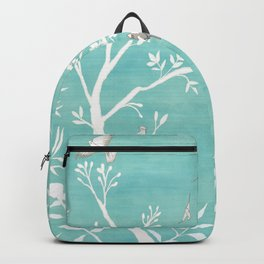 Chinoiserie Panels 1-2 White Scene on Teal Raw Silk - Casart Scenoiserie Collection Backpack