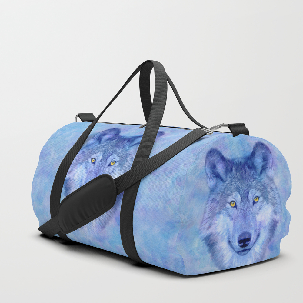 Sky Blue Wolf With Golden Eyes Duffle Bag by Catyarte DFL4739390
