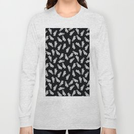 Modern black white abstract hand painted stripes Long Sleeve T-shirt
