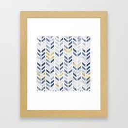 Herringbone chevron pattern. Indigo gold acrylic on canvas Framed Art Print