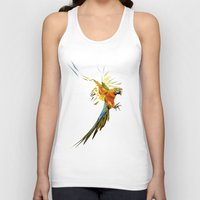 low poly Tank Tops featuring Low poly Parrot by exya