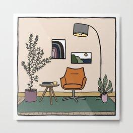 Living Room with Orange Armchair Metal Print