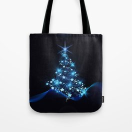Sparkling Blue Christmas Tree Modern Stars Tote Bag
