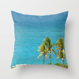 The Ocean and Palm Trees Throw Pillow