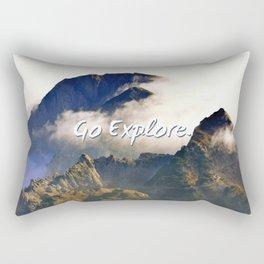 'Go Explore.' Mountains, Adventure, Wanderlust, Typography Rectangular Pillow