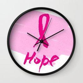 Vector watercolor pink ribbon - breast cancer awareness symbol Wall Clock