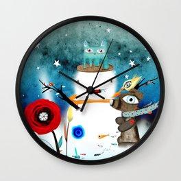Aurora Australis Christmas Whimsical Stars Wall Clock