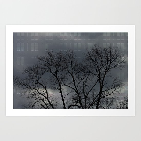 Spooky tree and building Art Print