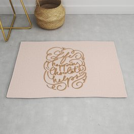 Life happens chocolate helps - inspirational quote - choco ribbon hand-lettering Rug