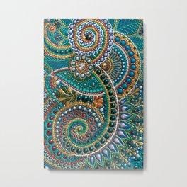 Turquoise paisley art, doodle dot-art boho ornament Metal Print