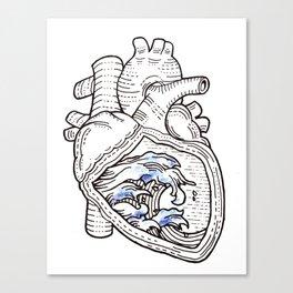 Ocean heart | Retro waves Canvas Print