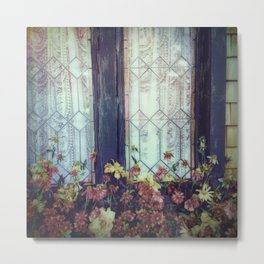 Vintage Window with Flowerbox Metal Print