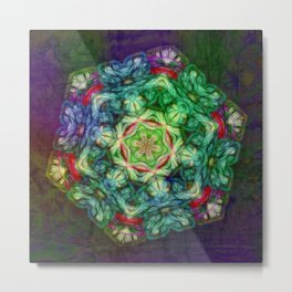 Stained glass fractal kaleidoscope Metal Print