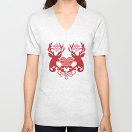 Vintage deers. Merry Christmas! Unisex V-Neck