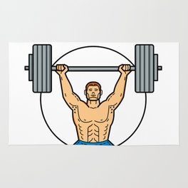 Weightlifter Lifting Barbell Mono Line Art Rug