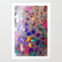 Something To Celebrate holographic star glitter suspension macro Art Print