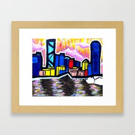 Bright Brisbane City River Framed Art Print
