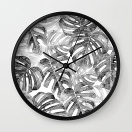 Black and white Monstera leaves Jungle leaves Palm leaves Tropical Wall Clock