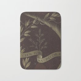 "Leonardo Da Vinci ""Wreath of Laurel, Palm, and Juniper with a Scroll inscribed Virtutem Forma Decor"" Bath Mat"