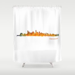 Vancouver Canada City Skyline Hq v01 Shower Curtain