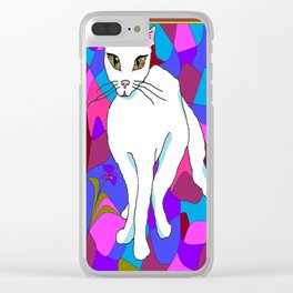 Pretty White Kitty in the Window - Stained Window Clear iPhone Case