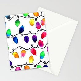 Colorful Christmas Holiday Light Bulbs Stationery Cards