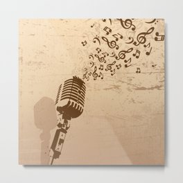 Retro microphone with grunge music concept Metal Print