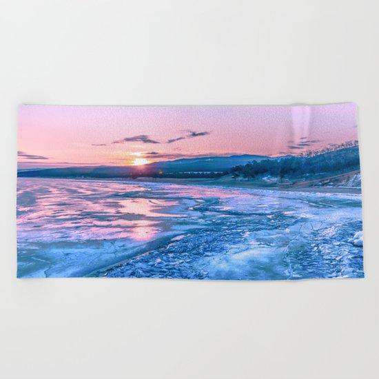 Baikal sunrise Beach Towel