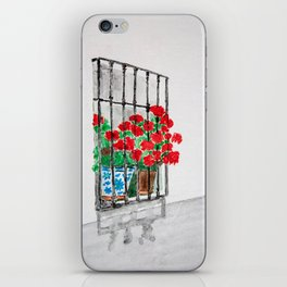 Geraniums in Window Watercolor iPhone Skin