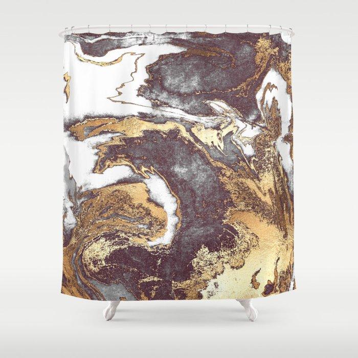 Black White Gold Shower Curtain By Jennadavis