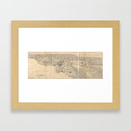 Vintage 1915 Los Angeles Area Map Framed Art Print