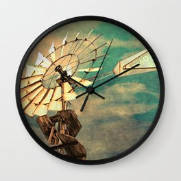Rustic Windmill against Cloudy Sky Modern Country Art A520 Wall Clock