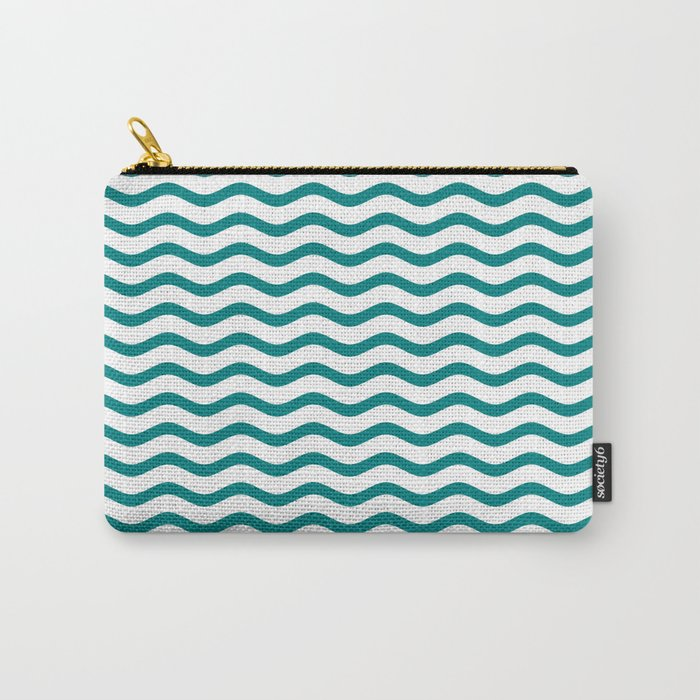 Teal and White Chevron Wave Carry-All Pouch