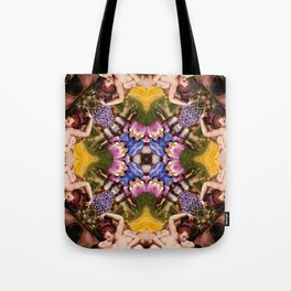 Floral abstract rennaisance pattern with angels kissing Tote Bag