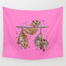 Possum trio on a branch - Pink Wall Tapestry