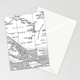Vintage Map of Turks and Caicos & Bahamas Stationery Cards