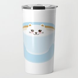 Cute Kawai cat in blue cup Travel Mug